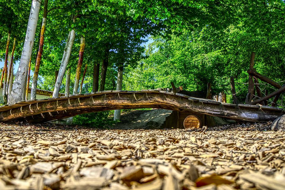 Bridge, Wood, Wooden Bridge, Transition, Wood Chips