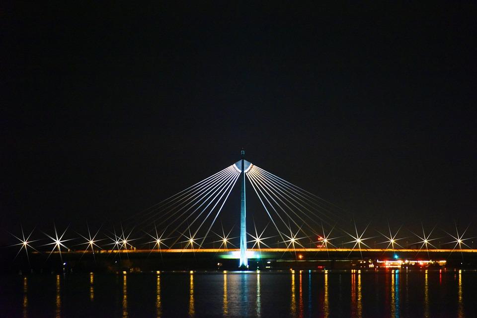Bridge, Danube, Vienna, Austria, Architecture, Night