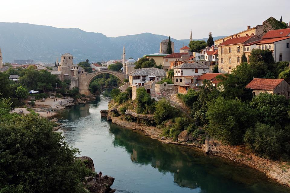 Bridge, Mostar, River, Water, Creek, The Minaret Of The