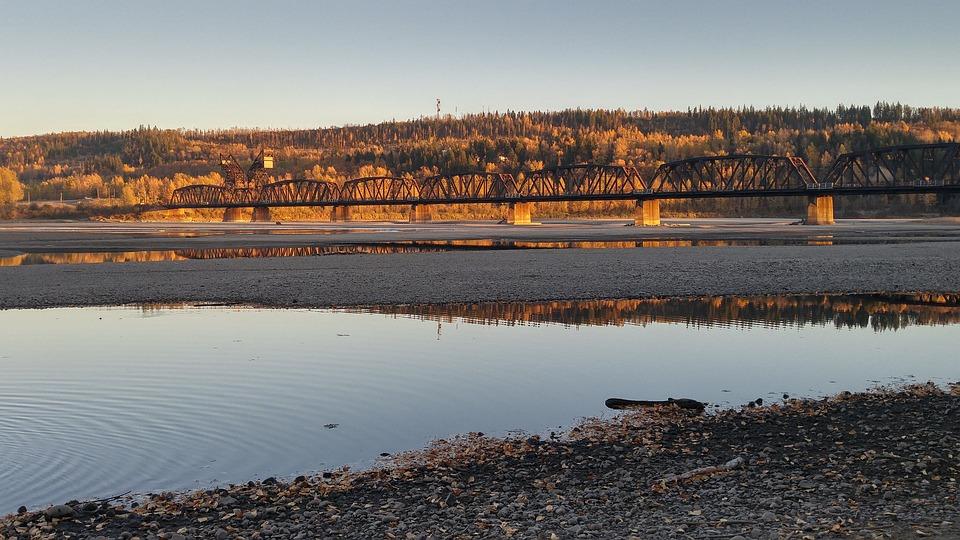 River, Bridge, Evening, Light, Cast, Water