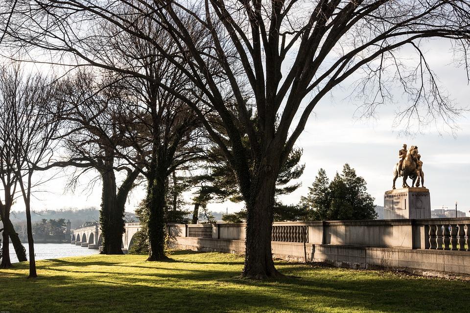 Bridge, Equestrian Statue, Arlington, Winter