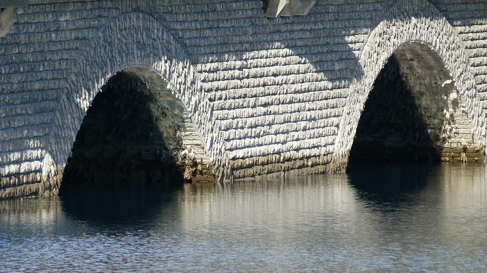 Bridges, Stone Arches, Water, Contrast, Light And Shade