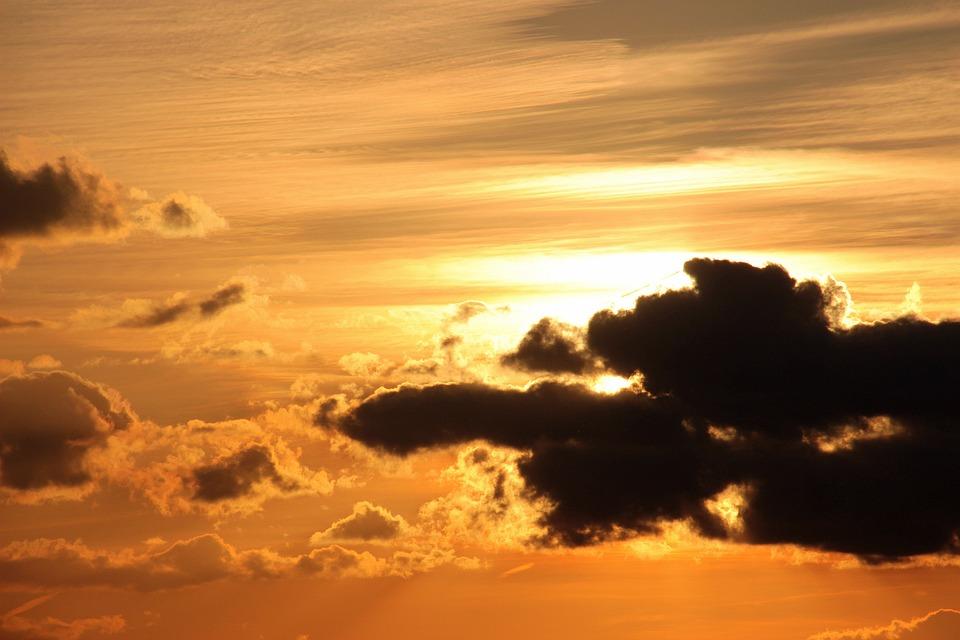 Sunset, Sun, Clouds, Dark Clouds, Bright Cloud