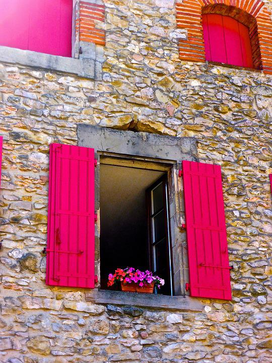 Window, Red, Stone, Flowers, Exterior Home, Bright