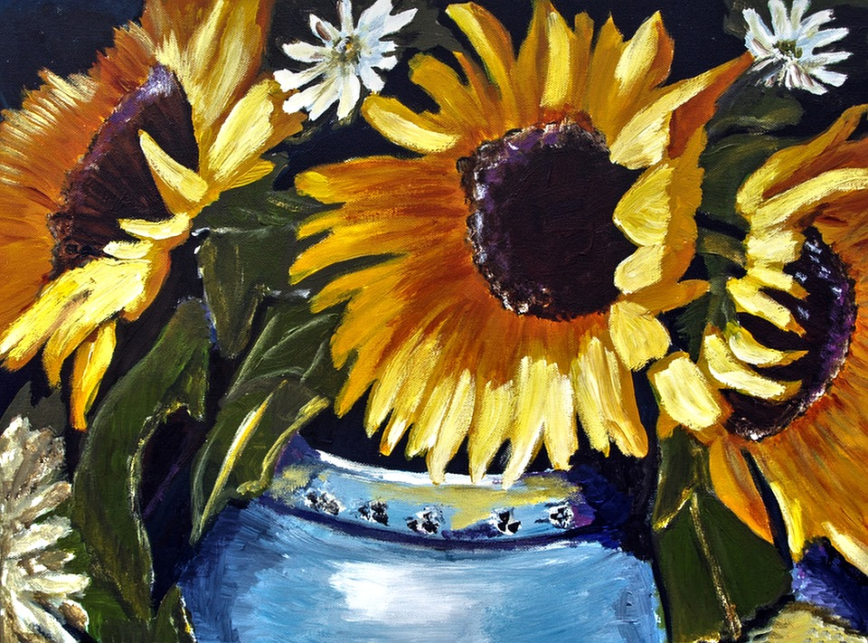 Painted Sunflowers, Bright, Acrylic Paint
