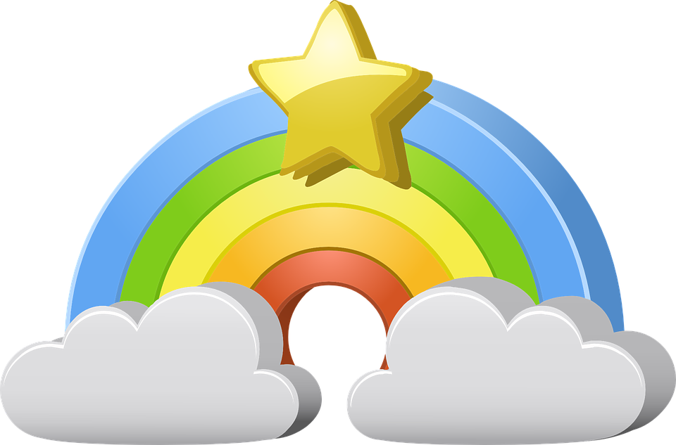Rainbow, Star, Clouds, Weather, Colorful, Bright