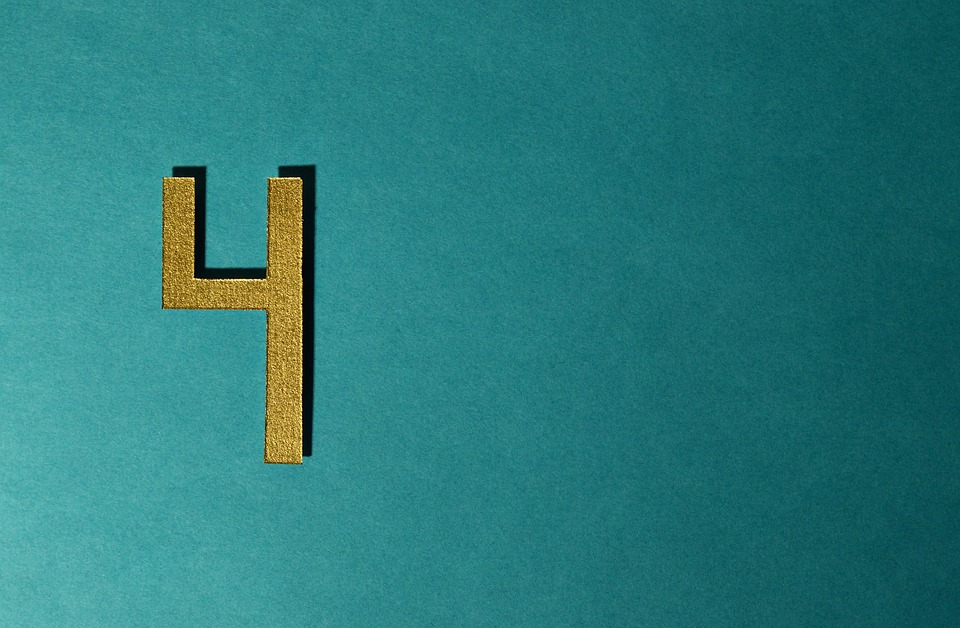 Four, Type, Number, Background, Gold, Card, Brightness