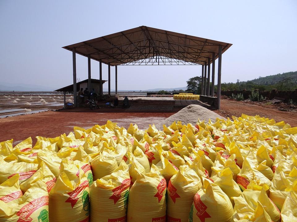 Salt Pan, Brine, Salt, Bags, Bagging, Salt Works, Water