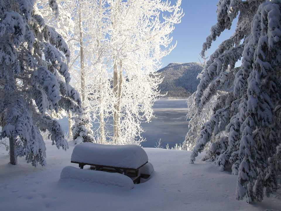 Canim Lake, Cariboo, British Columbia, Canada, Winter