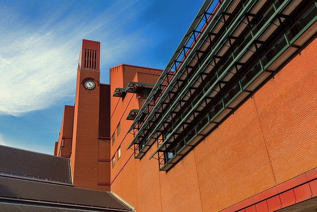 British Library, London, England, Sky, Clouds, Building