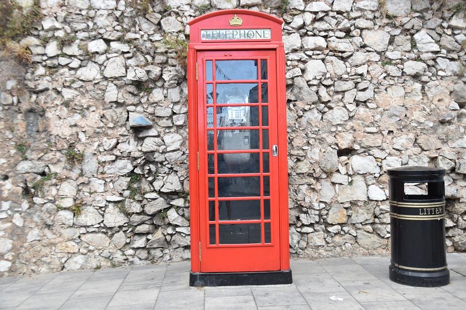 Gibraltar, London, Phone Booth, English, British, Red
