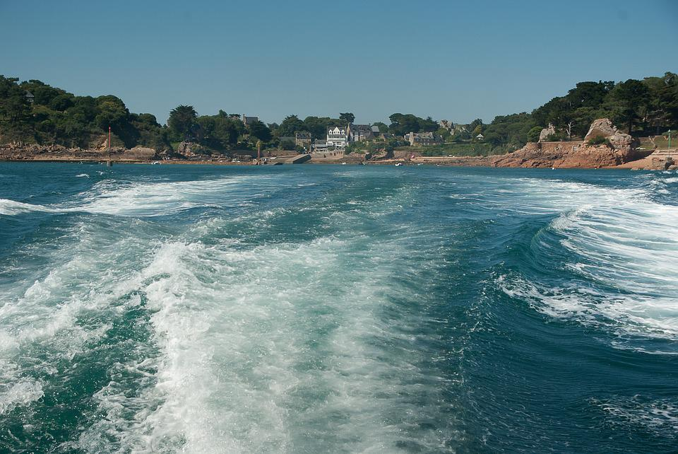 Brittany, Bréhat, Island, Port, Wake, Waves