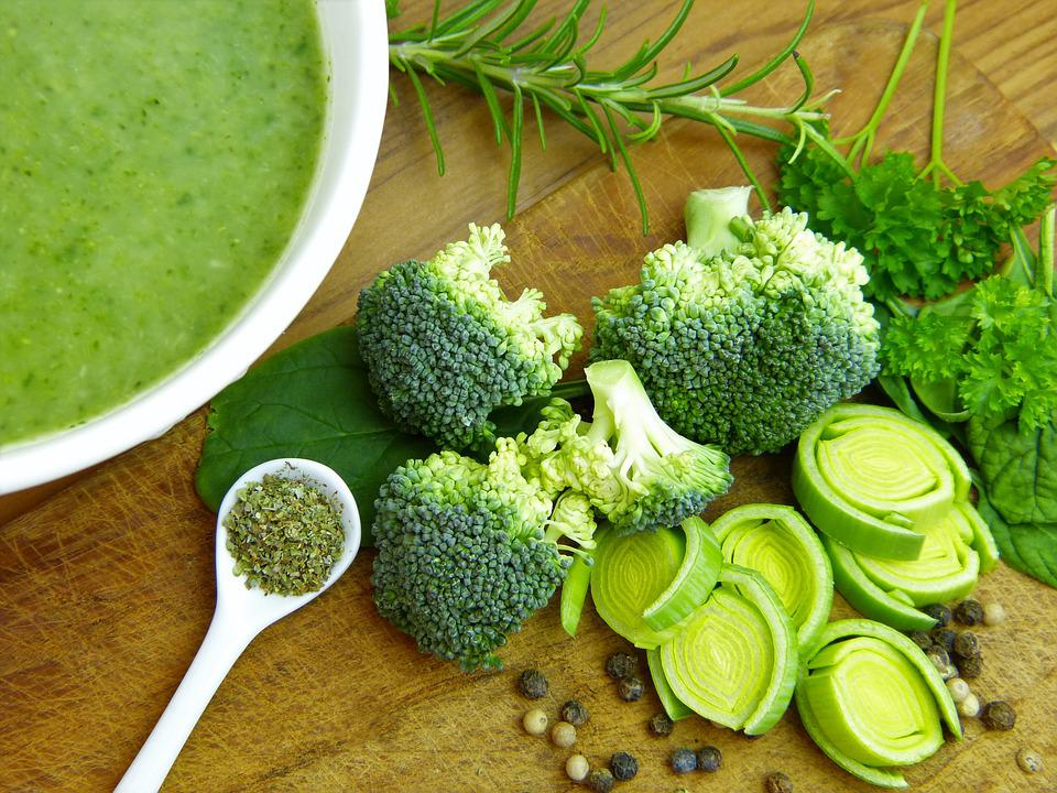 Soup, Vegetables, Broccoli, Leek, Pepper, Grains, Food