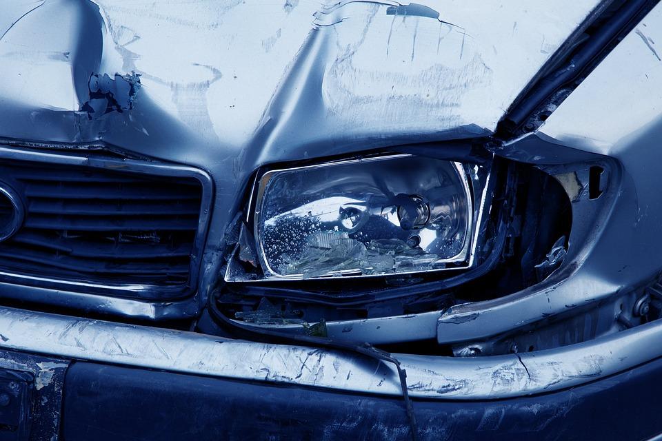 Headlamp, Accident, Auto, Blue, Broken, Car, Collision