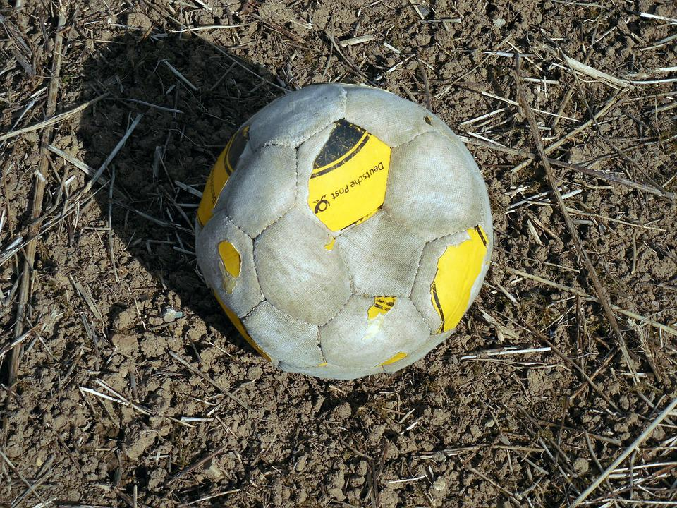 Ball, Football, Sport, Old, Broken, Play, Ball Sports
