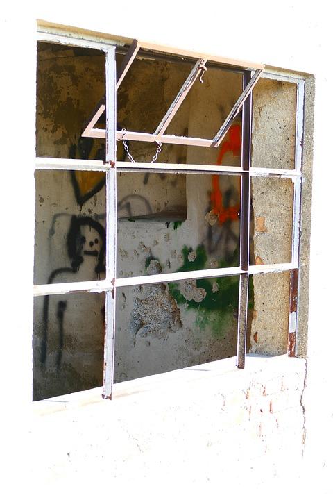 Window, Glass, Broken, Destroyed, Graffiti, Face, Old