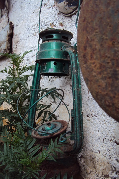 Old Lantern, Broken Lantern, Green Lantern, Antique