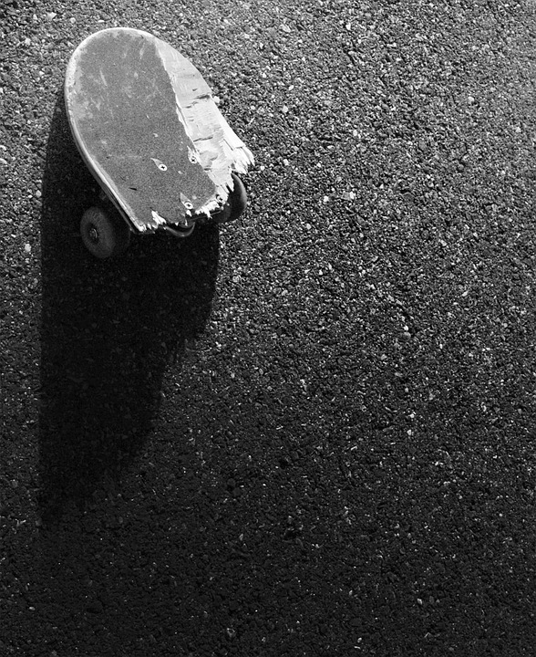 Broken, Skateboard, Pavement, Concrete, Ground