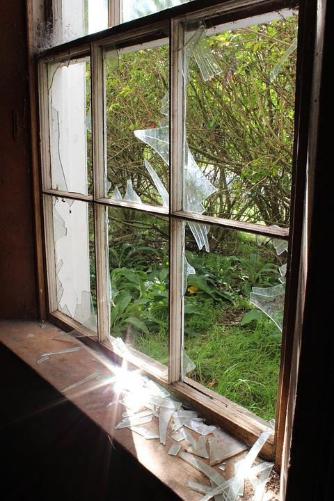 Sunlight, Broken Window, Broken, Window, Dirty