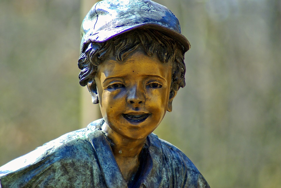 Sculpture Of Child, Sculpture, Stature, Bronze, Boy