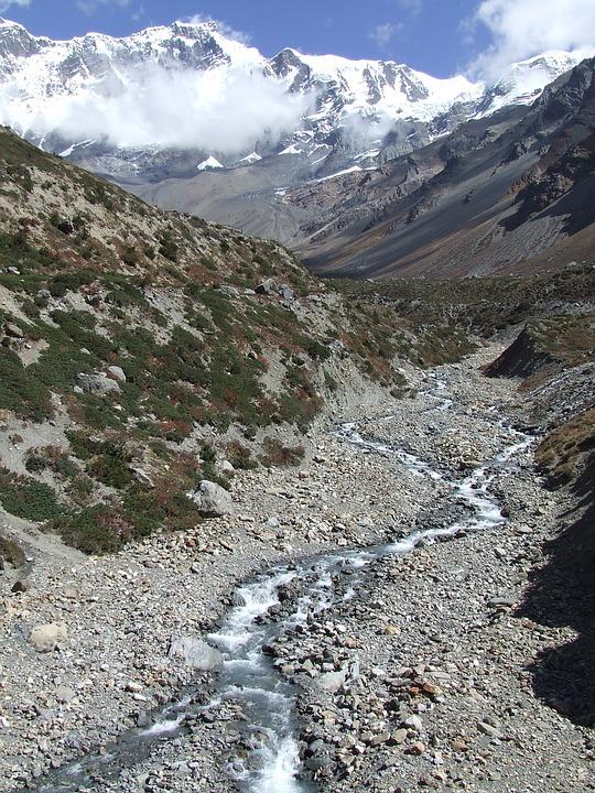 Mountains, Brook, Nepal, Himalayan, Trekking
