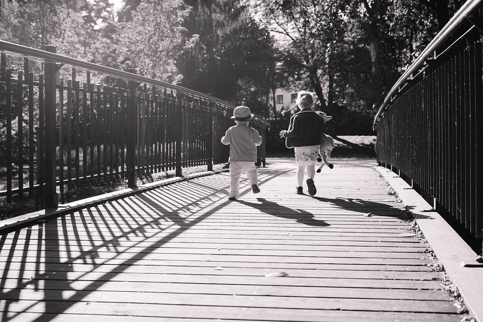 People, Autumn, Boy, Bridge, Brother, Carefree