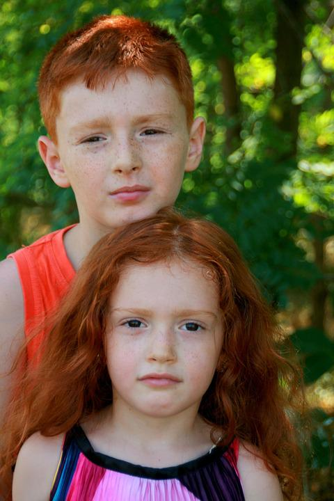 Brother, Sister, Portrait, Russet