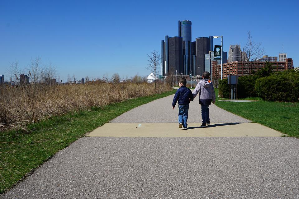 Brothers, Holding Hands, Walking, Detroit, Skyline