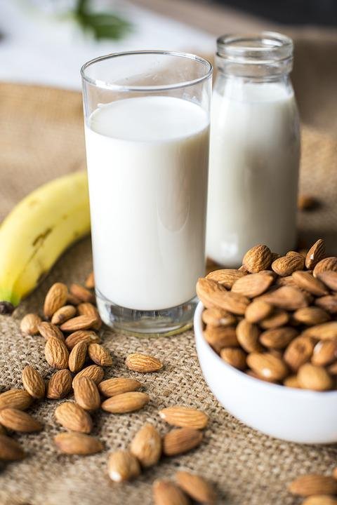 Almond, Almond Milk, Banana, Bottle, Bowl, Brown