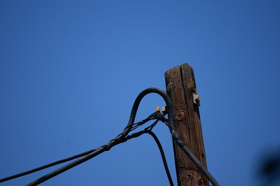 Cables, Column, Brown, Blue, Heaven, Wires, Noose