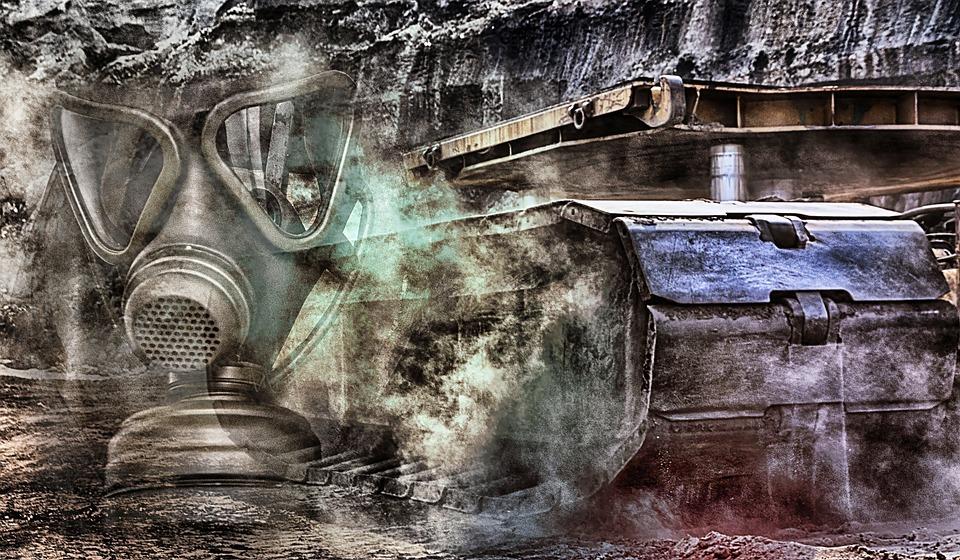 Gas Mask, Bulldozer, Brown Coal, Energy