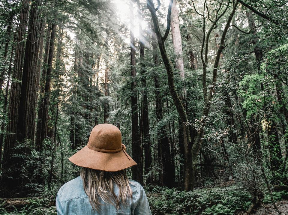 Blonde Hair, Brown Hat, Denim Jacket, Environment