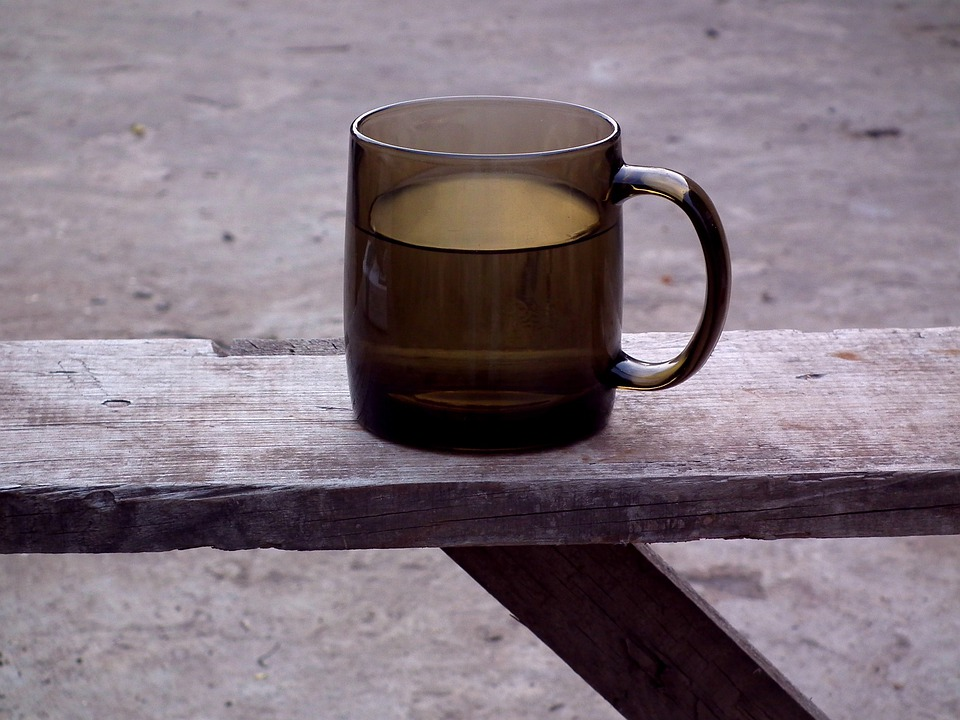 Drink, Mug, Water, Bench, Glass, Brown, Grey, Old