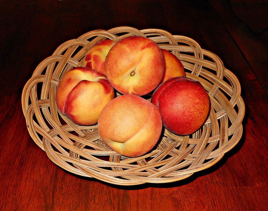 Peaches, Fruits, Baskets, Table, Brown, Wooden