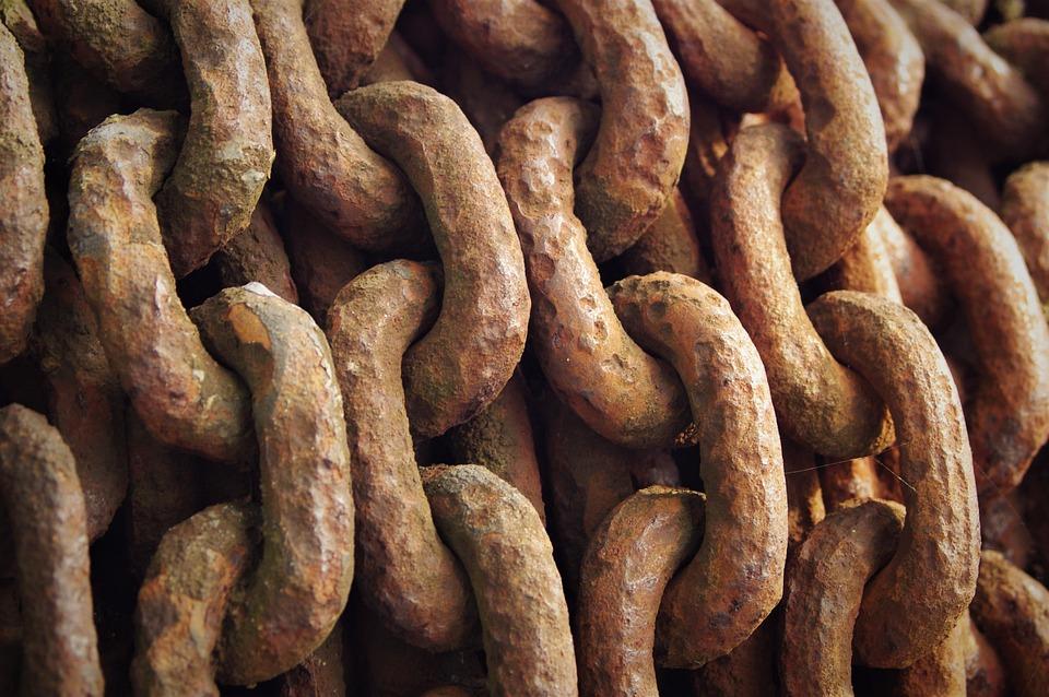 Rusty, Old, Chain, Iron, Metal, Weathered, Brown
