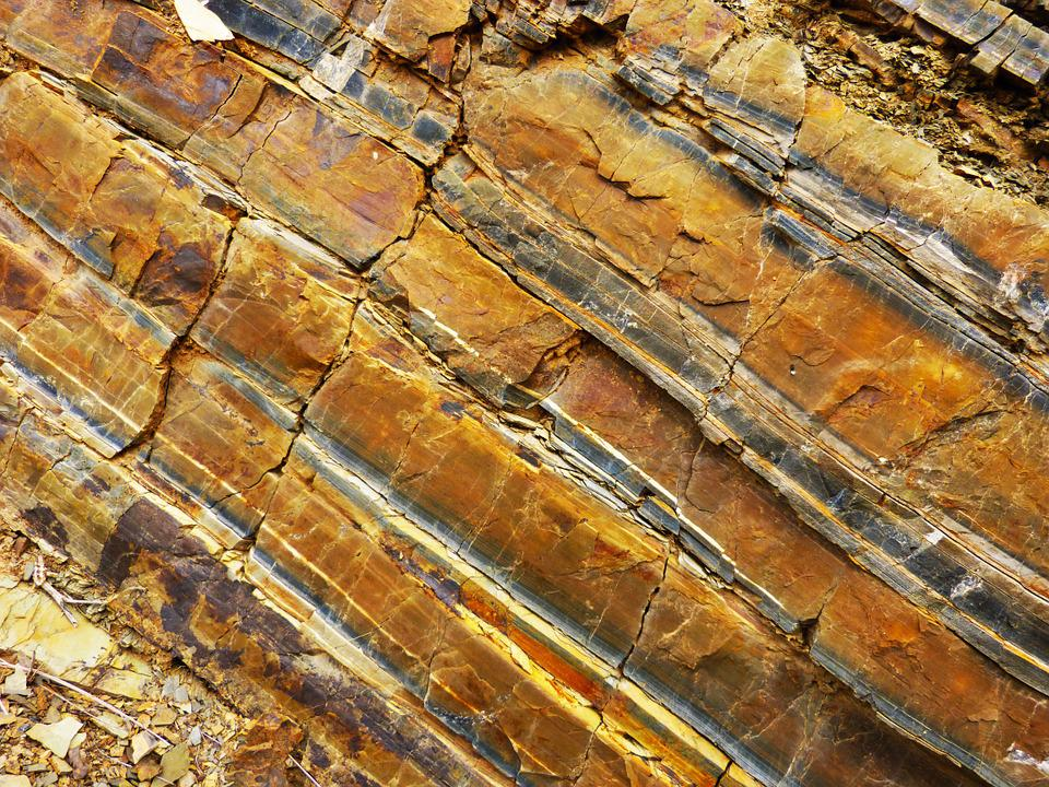 Rock, Layers, Slate, Wall, Rocks, Stones, Brown, Gold
