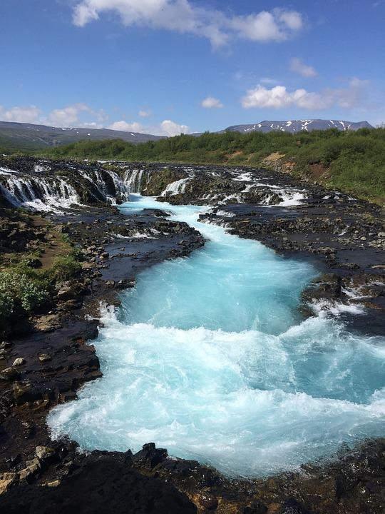 Bruarfoss Waterfall, Waterfall, Iceland