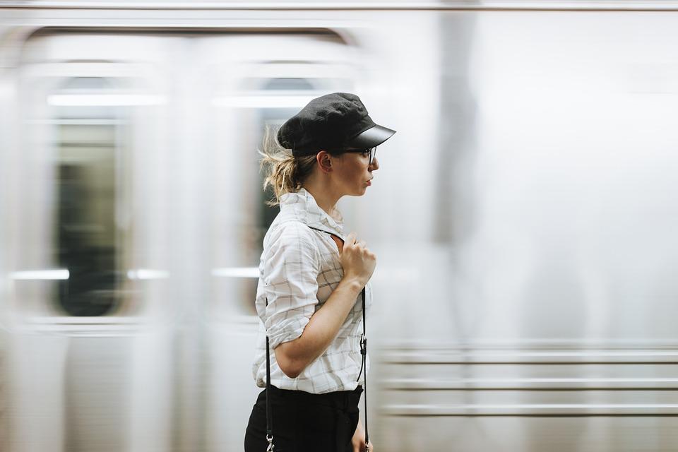 Woman, Girl, Train, Platform, Alone, Bag, Brunette, Cap