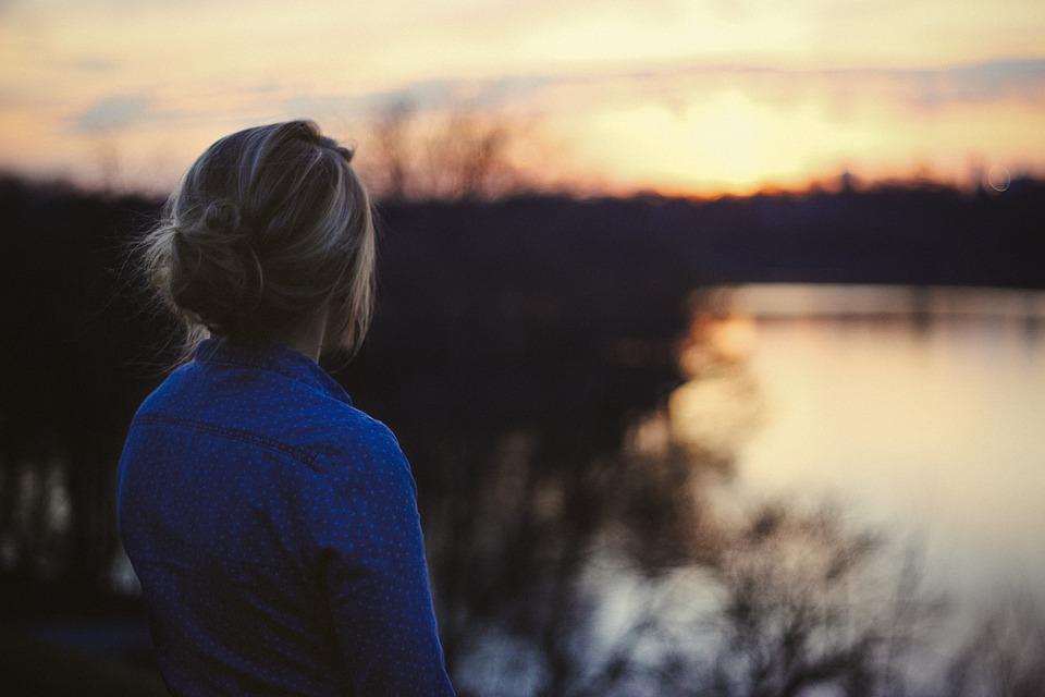 Girl, Woman, Sunset, Shirt, Brunette, Hair