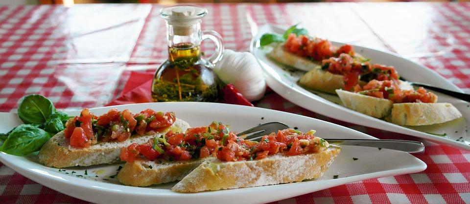 Bruschetta, Bread, Baguette, Tomatoes, Basil, Onion