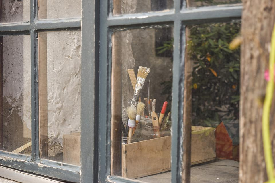 Window, Glass, Facade, Building, Old, Brush, Wooden Box