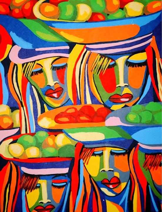 Painting, Acrylic Paint, Brush Strokes, Ethnic