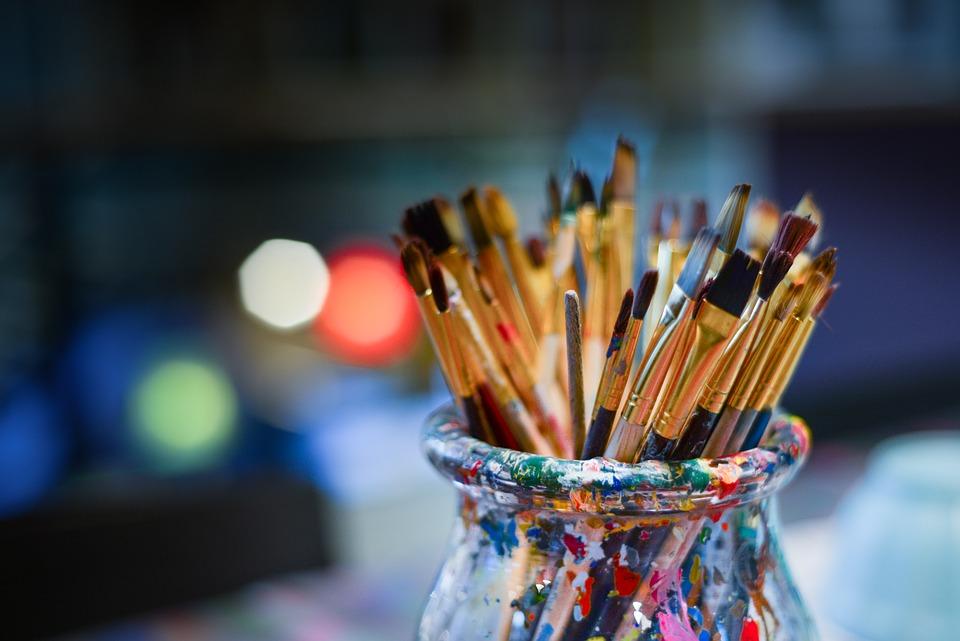 Brushes, Painter, Work Shop, Bowl, Lights, Work