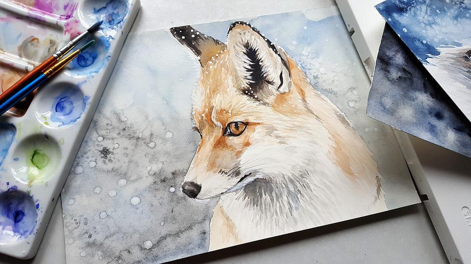 Animal, Fox, Nature, Painting, Art, Colors, Brushes