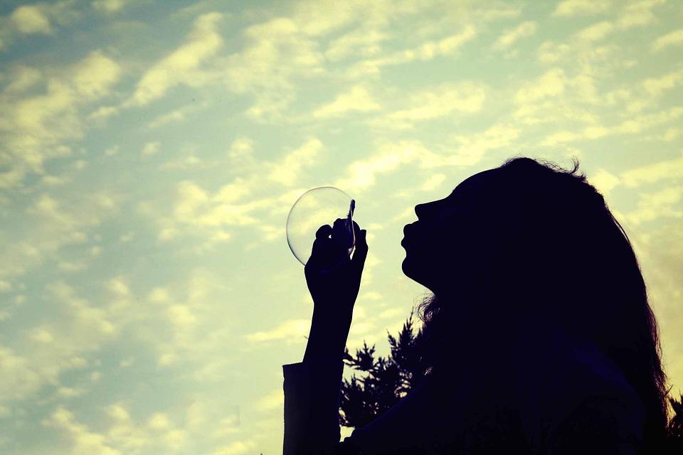 Girl, Bubble, Daydream, Sky, Cloud, Clouds
