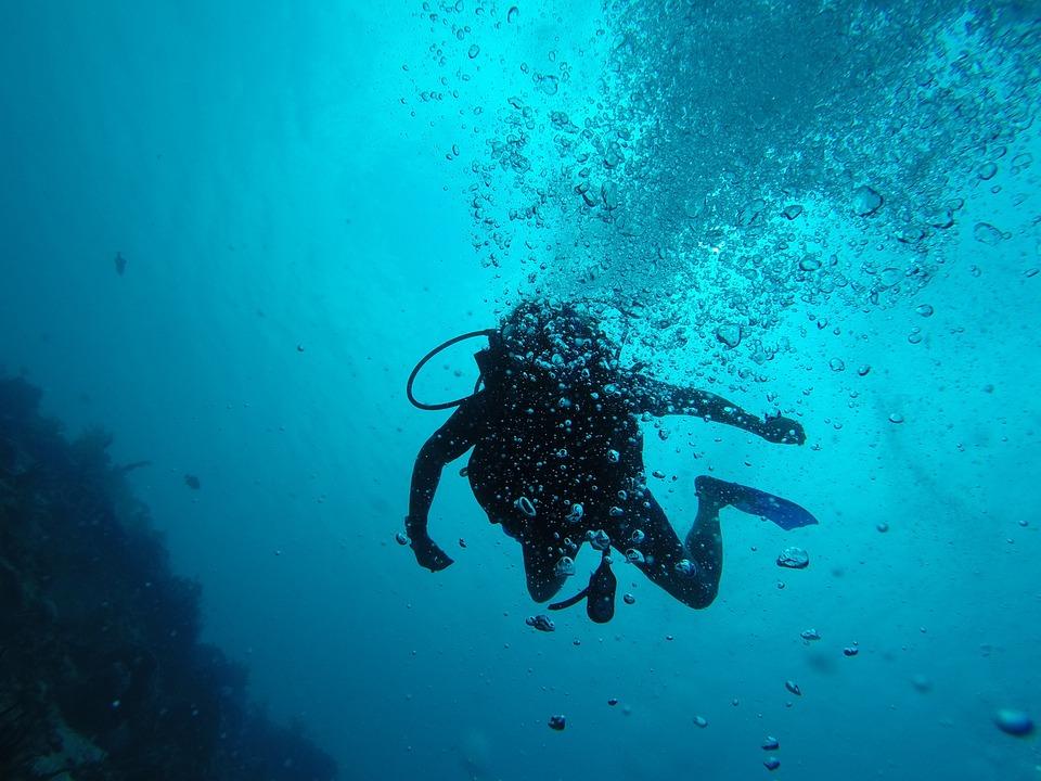 Scuba, Bubbles, Underwater, Blue Bubbles