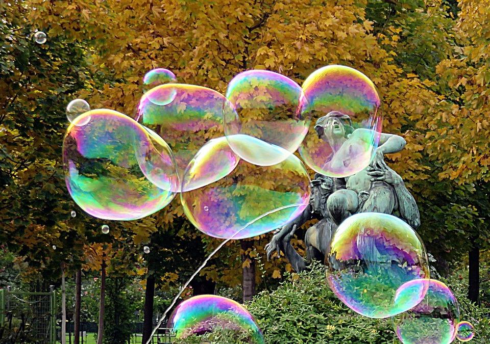 Bubbles, Statue, Color, Rainbow
