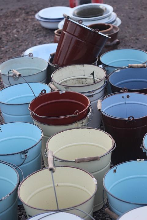 Bucket, Shape, Crowd, Several, Cyan Light Blue, Steel
