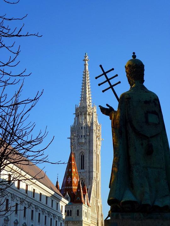 Budapest, Buda, Castle Area, Church, Statue