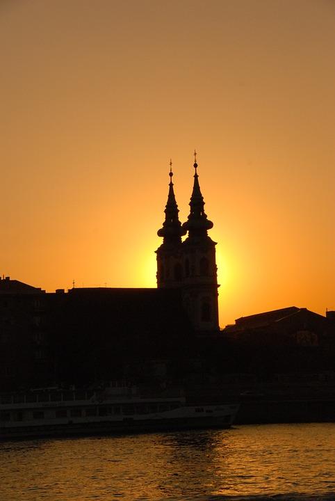 Sunset, Church, River, Budapest